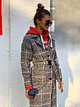 Женское шерстяное стильное пальто в клетку на подкладке, фото 3