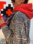 Женское шерстяное стильное пальто в клетку на подкладке, фото 4