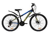 """Велосипед ST 26"""" Discovery TREK AM DD с крылом Pl 2020 (черно-зеленый с синим (м))"""