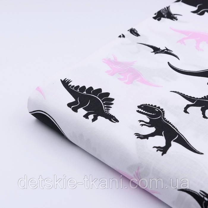 """Отрез ткани  """"Динозавры Юрского периода"""" чёрно-розовые на белом (2514), размер 80*160"""