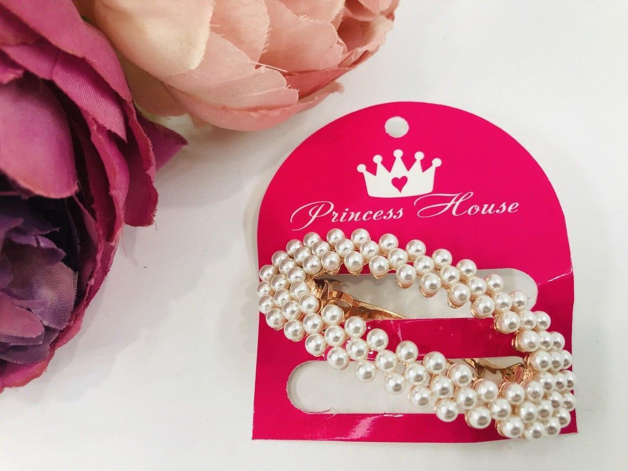 Детская заколка для волос для девочки Принцес хаус Украина RA-601 Белый жемчуг