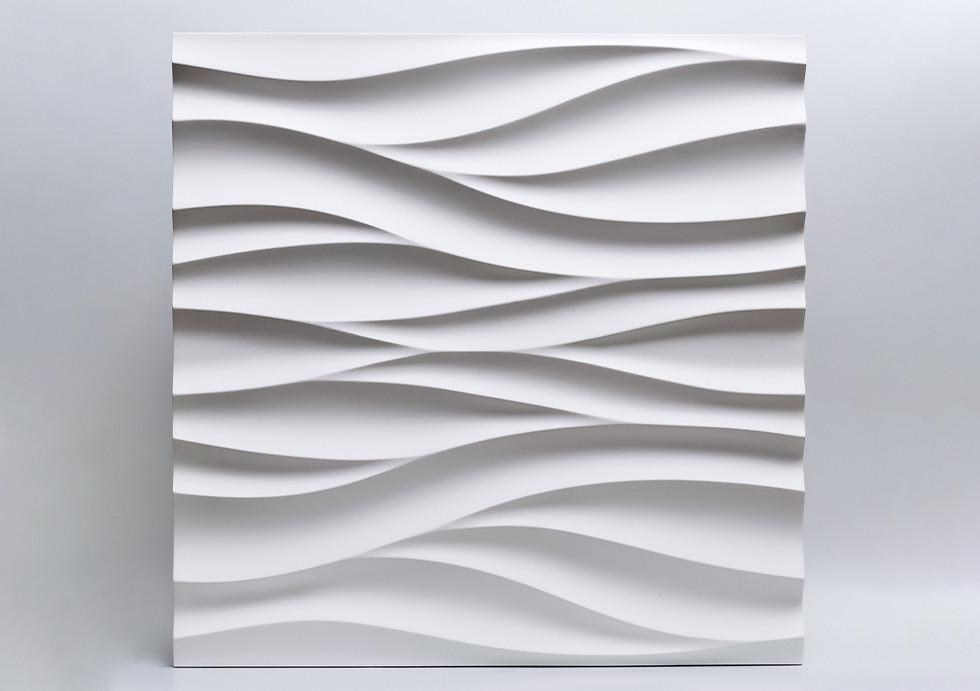 """Гипсовые 3D панели """"Поток"""" Белый 500*500*25 мм"""