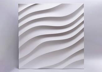 """Гипсовые 3D панели """"Дюны"""" Белый 500*500*25 мм"""