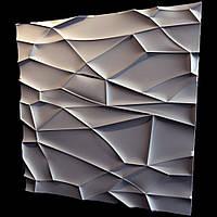 """Гіпсові панелі 3D """"Рок"""" Білий 500*500*25 мм"""