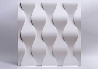 """Гипсовые 3D панели """"Чешуя"""" Белый 500*500*25 мм"""