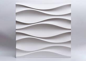 """Гипсовые 3D панели """"Луни"""" Белый 500*500*25 мм"""