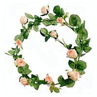 Гирлянда декоративная из роз розовая 180 см