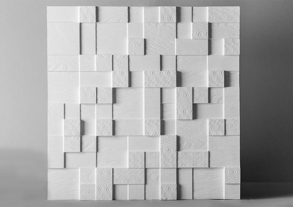 """Гипсовые 3D панели """"Абремо"""" Белый 500*500*25 мм"""