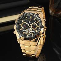 Forsining texas золотистые с черным циферблатом мужские механические часы скелетон, фото 1