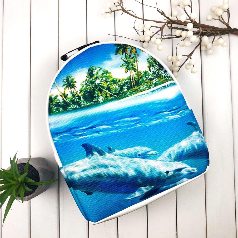 Белый городской рюкзак с принтом Дельфины