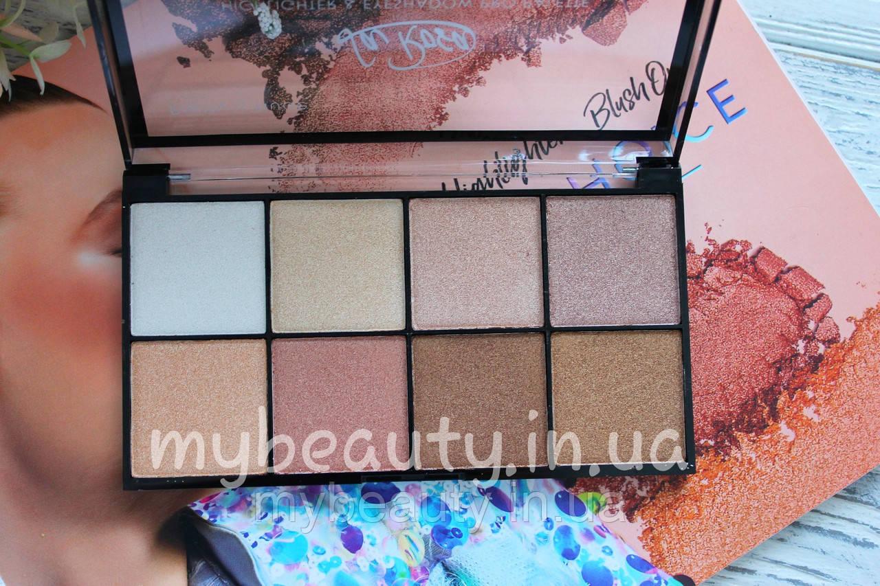 Хайлайтер-тени для лица и век LA ROSA Highlighter & Eyeshadow Pro Palette 8-ми цветные