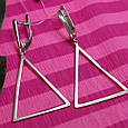 Серебряные серьги в стиле минимализм Треугольники, фото 3