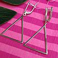 Серебряные серьги в стиле минимализм Треугольники, фото 2