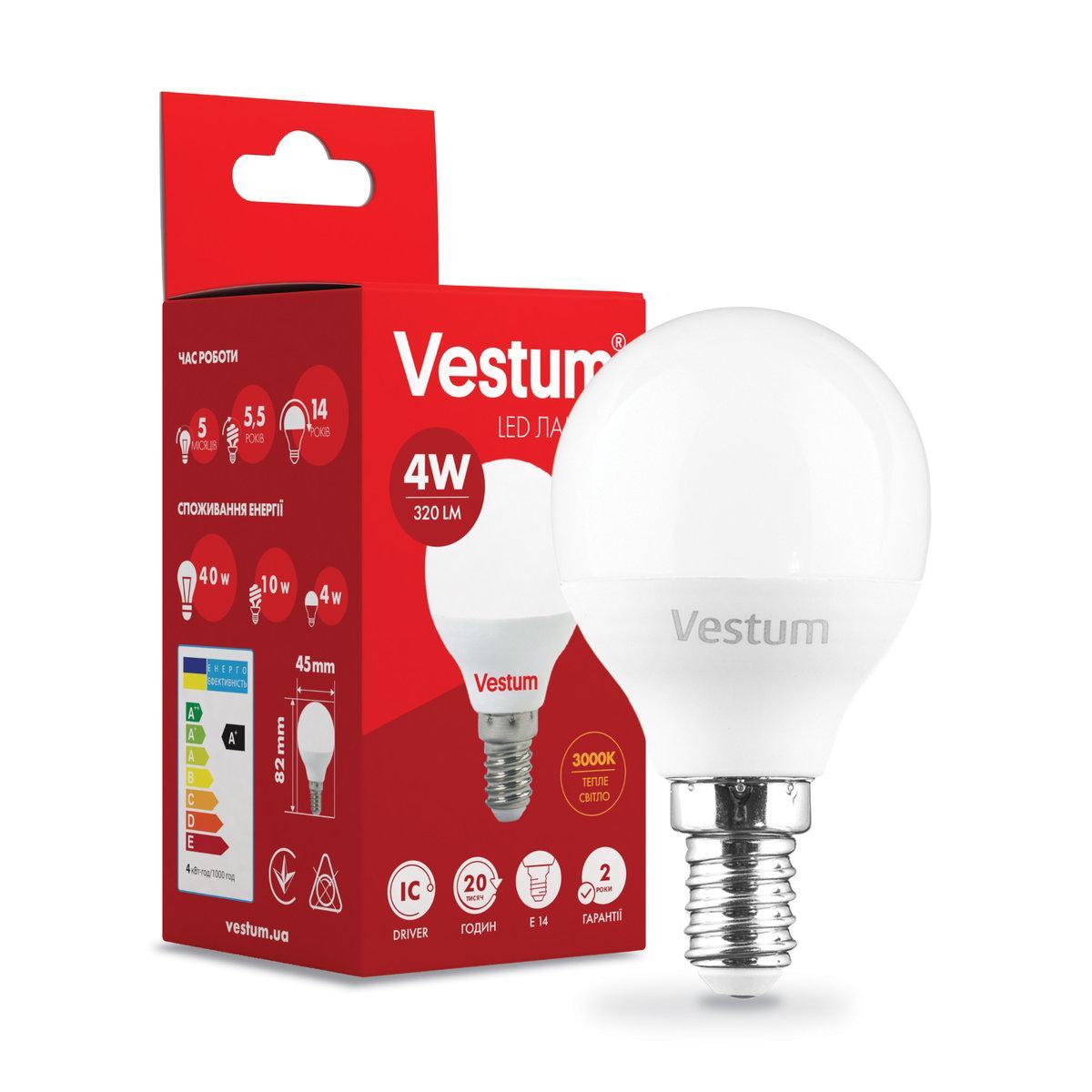 Лампа LED Vestum G45 4W 3000K 220V E14
