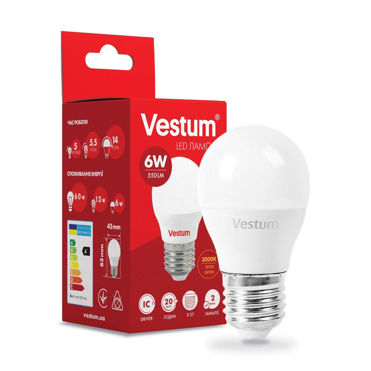 Светодиодная лампа Vestum G45 6W 3000K 220V E27 1-VS-1202