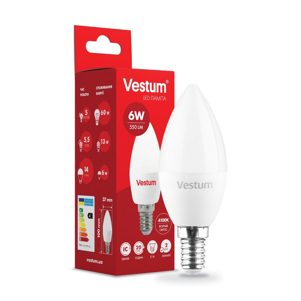 Лампа LED Vestum C37  6W 4100K 220V E14