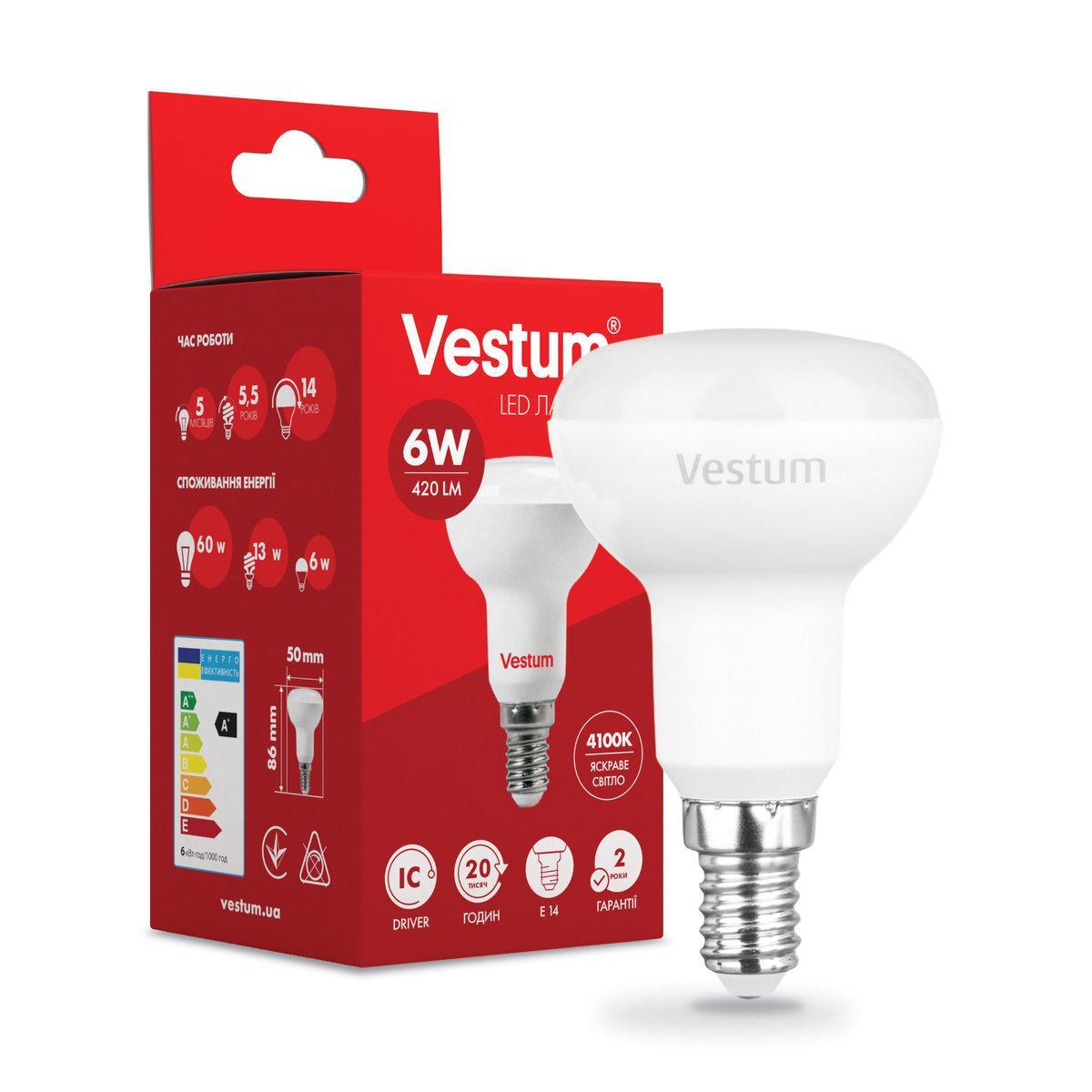 Лампа LED Vestum R50 6W 4100K 220V E14