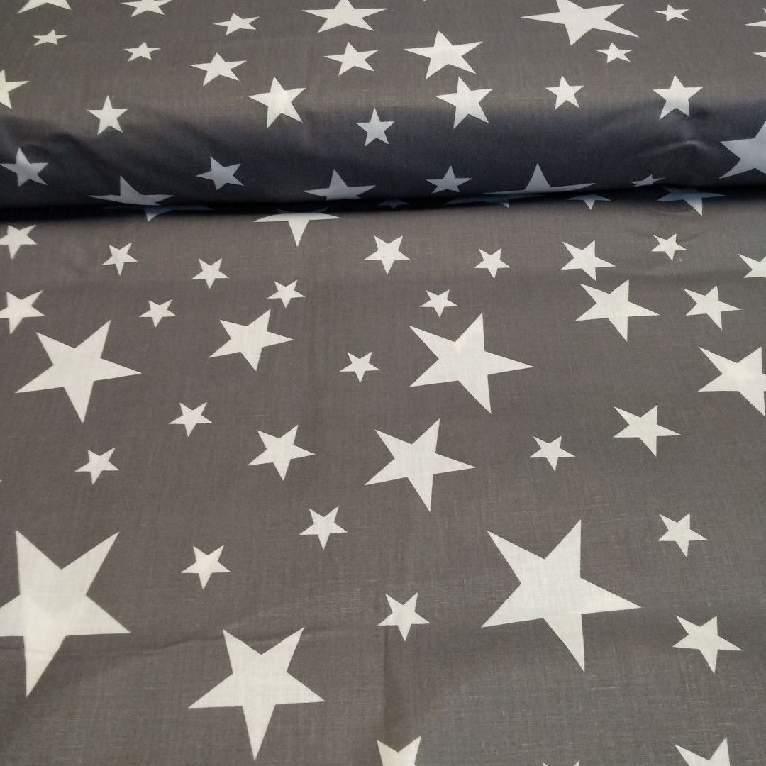 ткань ранфорс серые звезды, ранфорс, ранфорс для постельного белья