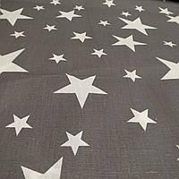 """Ткань Ранфорс """"Большие и маленькие звезды на графитовом"""" 220"""