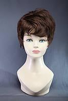 Парик женский из термоволокна короткая объемная стрижка, волнистые волосы, цвет шоколад