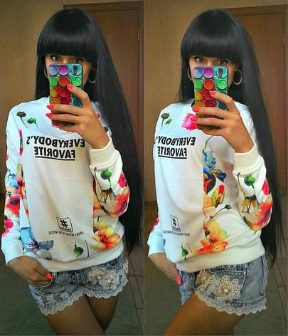 Укороченный свитер для девушки с цветами, фото 2