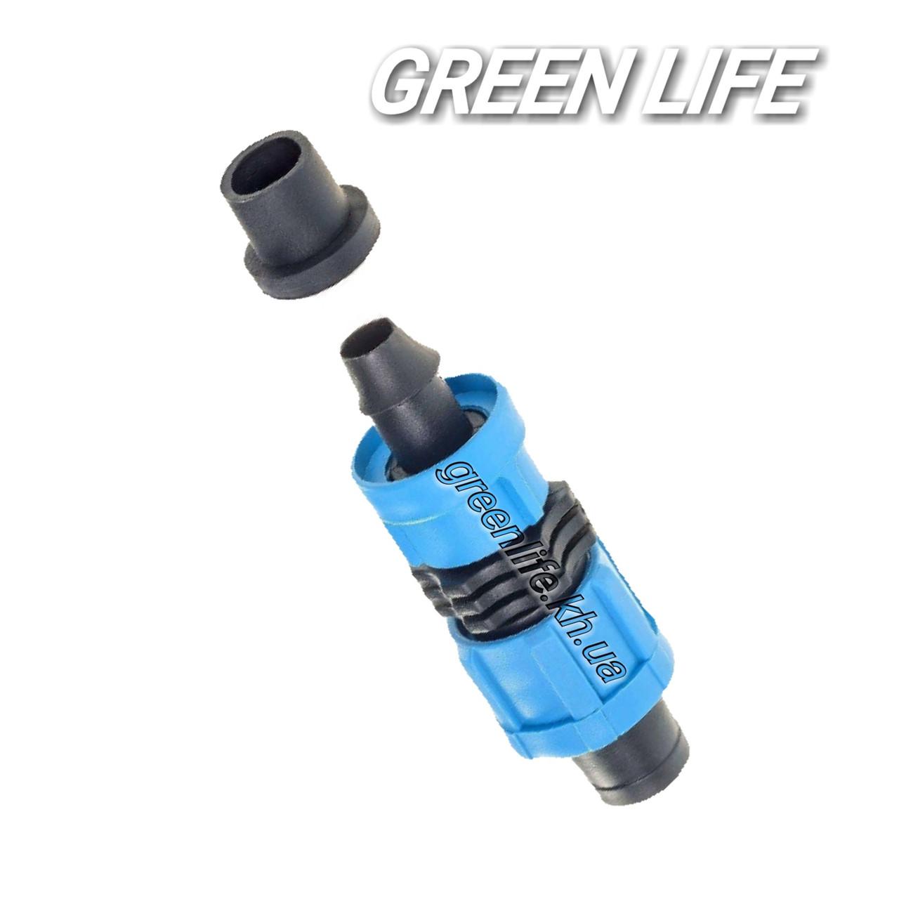 Старт коннектор с резинкой и поджимом для капельной ленты D16