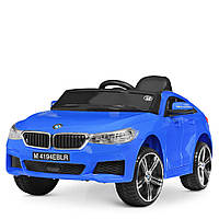 Детский электромобиль БМВ BMW M 4194EBLR-4 синий (красный, белый). Колеса EVA, USB, MP3, кожаное сиденье.