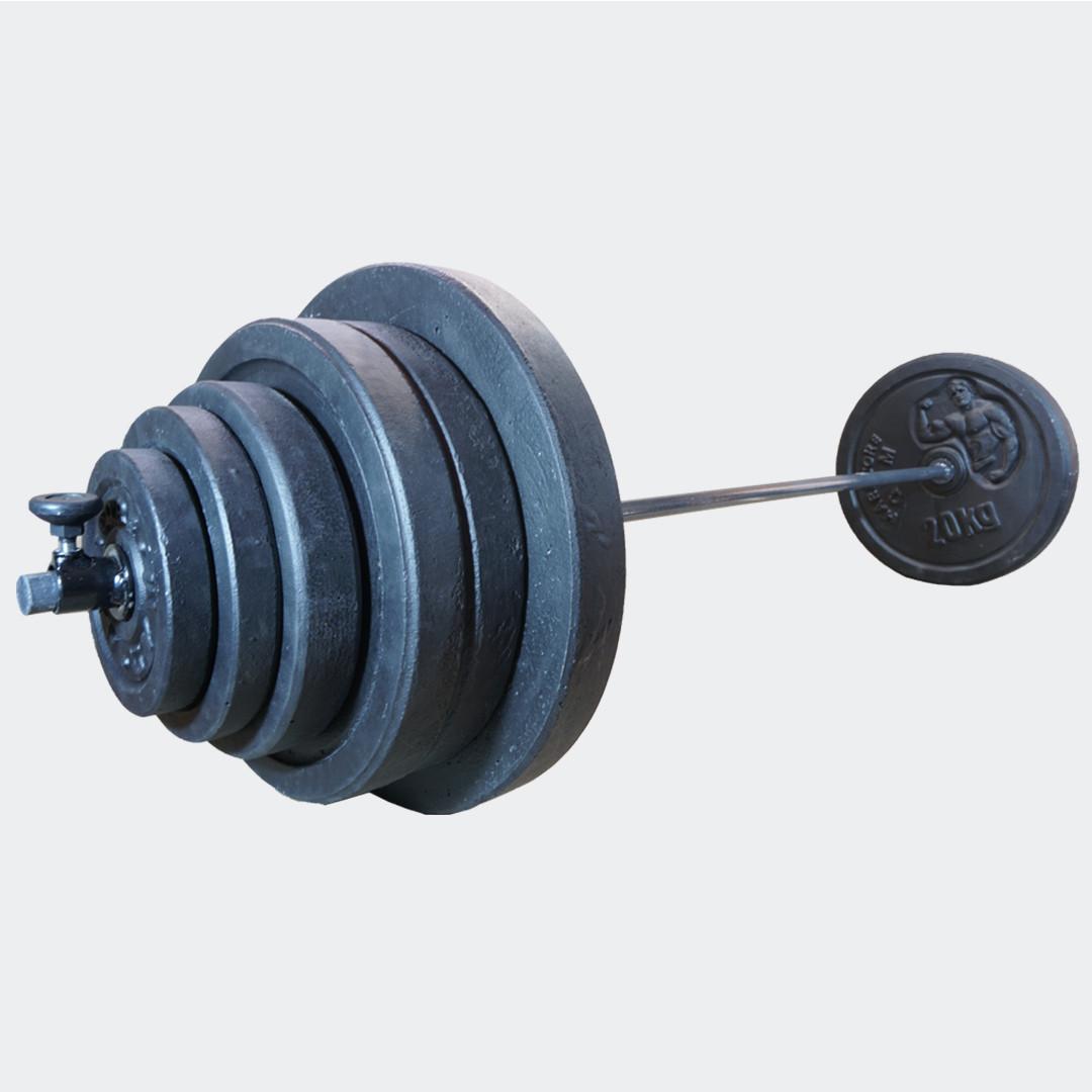 Штанга 106 кг разборная фиксированная прямая 2 м наборная для дома домашняя