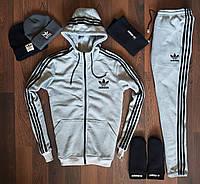 Мужской спортивный костюмсерый Adidas (весь комплект)