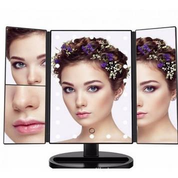 Зеркало для макияжа с LED подсветкой Superstar Magnifying Mirror 22 Black черное