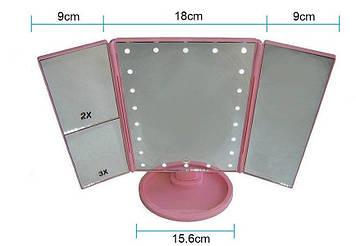 Зеркало для макияжа с LED подсветкой Superstar Magnifying Mirror 22 Pink Розовое