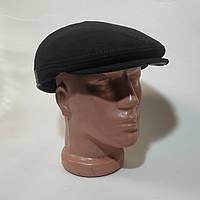 Мужская кепка козырек из натуральной замши черного цвета