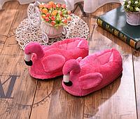 Тапочки-игрушки Фламинго закрытые, тапочки игрушки, тапочки кигуруми, тапочки для дома, тапочки іграшки, тапочки кигуруми, тапочки для дому