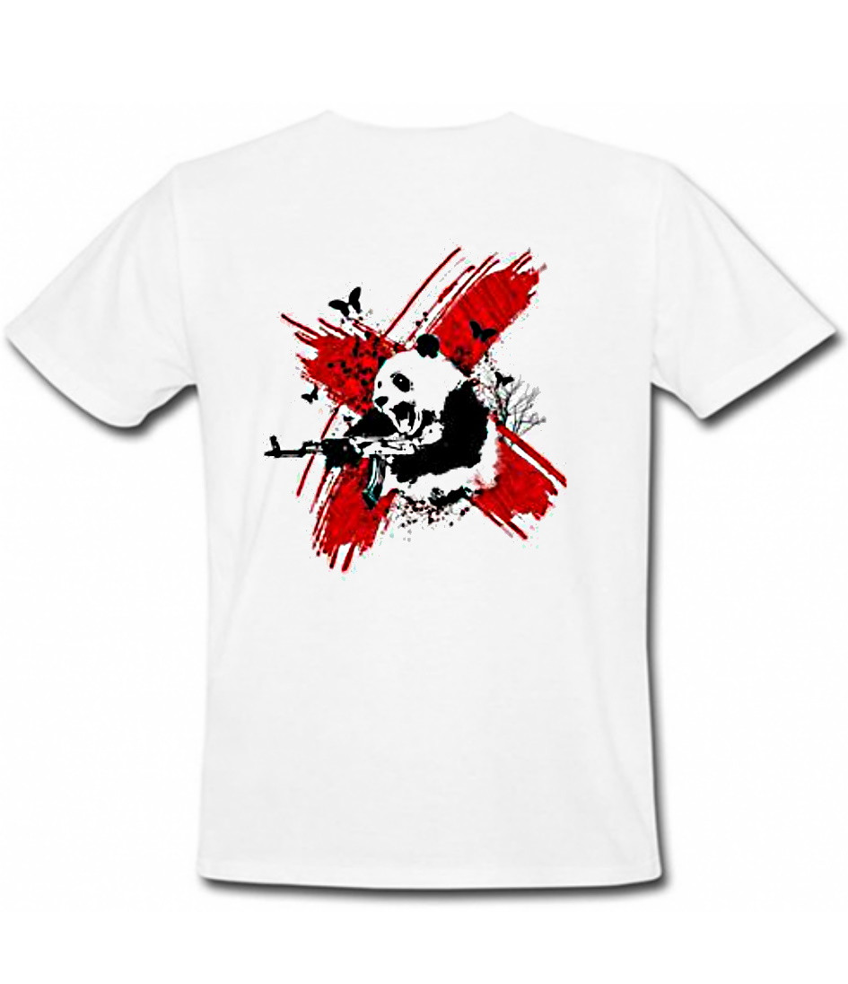 "Белая футболка  на заказ с любым принтом ""Злая панда"""