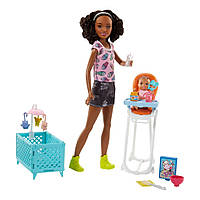 "Набор Барби Скиппер няня афро-американка ""Кормление"" (FHY99) Barbie Skipper Babysitters Inc. Doll and Feeding, фото 1"