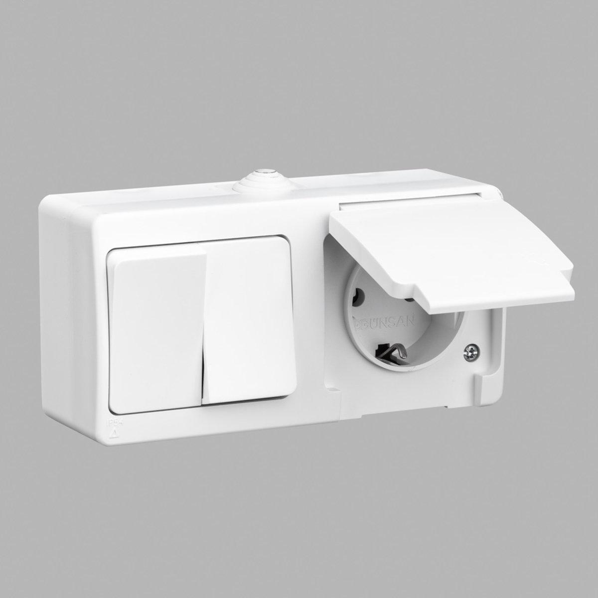 Nemli блок выключатель 2-ой + розетка с заземлением влагозащищенный белый
