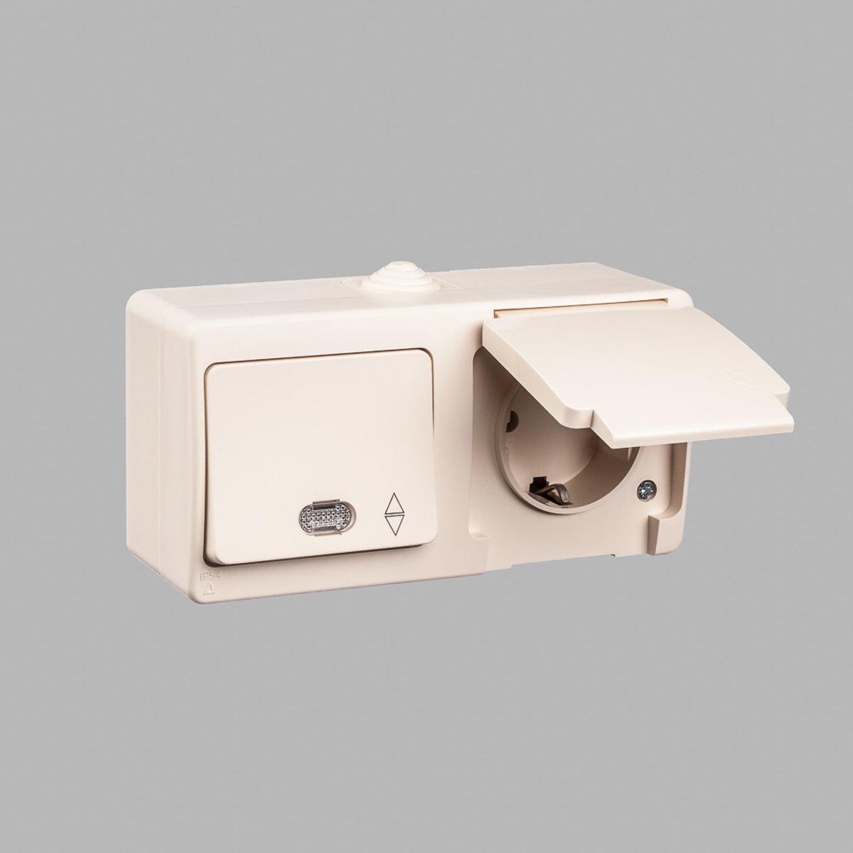 Nemli блок выключатель проходной 1-ый с подсветкой + розетка с заземлением влагозащищенный кремовый