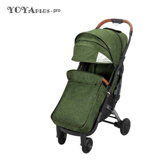 Детская прогулочная коляска YOYA plus Pro с утеплителем и большим дождевиком зеленая