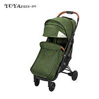 Детская прогулочная коляска YOYA plus Pro с утеплителем и большим дождевиком зеленая, фото 1