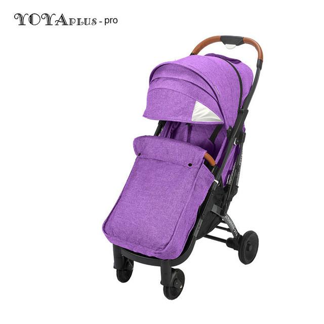Детская прогулочная коляска YOYA plus Pro с утеплителем и большим дождевиком фиолетовая