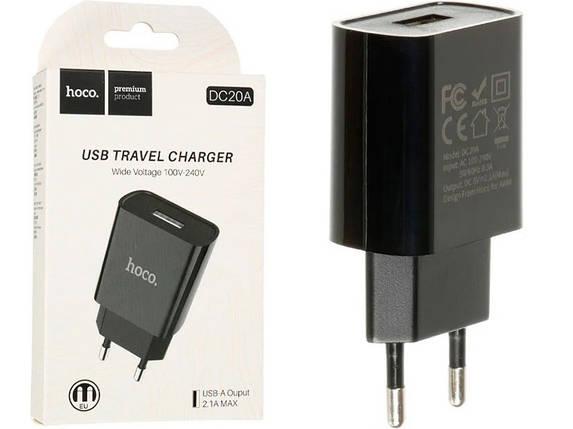 Мережевий зарядний пристрій HOCO DC20A 2.1 A / 1 USB-порт (Black), фото 2