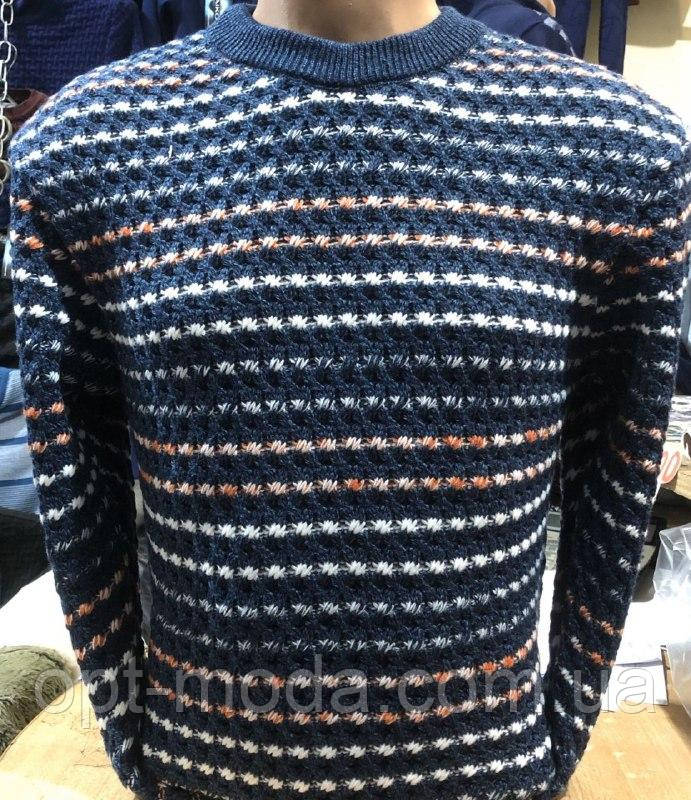 """Зимний мужской свитер в полоску больших размеров """"Микки"""""""