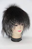 Женская меховая шапка мех чернобурки барбары