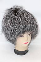 Натуральная шапка из меха лисы чернобурки