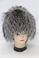Модная женская шапка из меха лисицы чернобурки