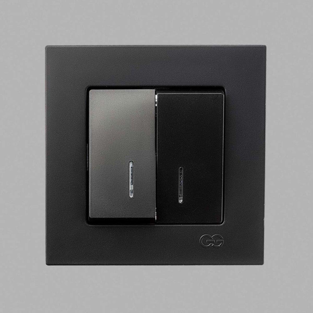 Eqona Выкл. 2-клав.с подсв.черный