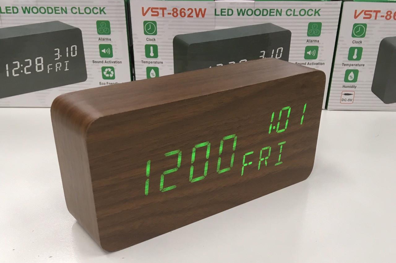 Настольные электронные часы VST-862W с будильником, датой, термометром, гигрометром в форме деревянного бруск