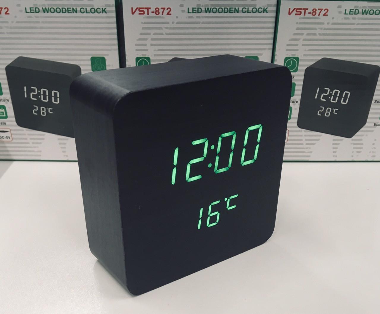 Настольные электронные часы VST-872 с будильником, датой и термометром, в форме деревянного бруска