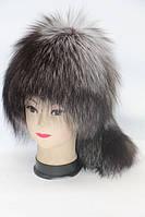 Жіноча натуральна шапка з чорнобурки, фото 1