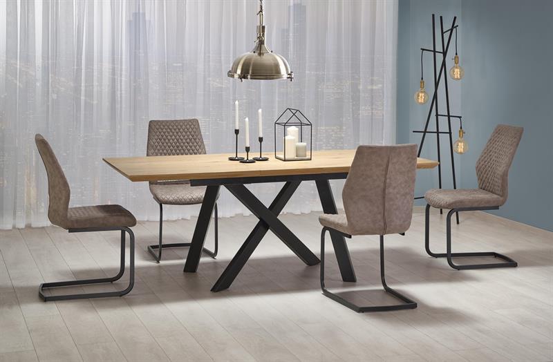 Стол CAPITAL дуб золотой/черный 160(200)x90 (Halmar)